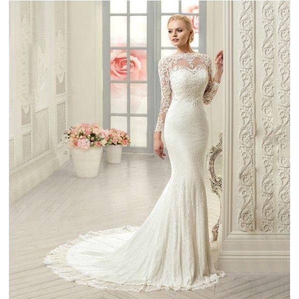 Elegant Lace Long Sleeve Mermaid Wedding Dress ❤ liked on Polyvore ...