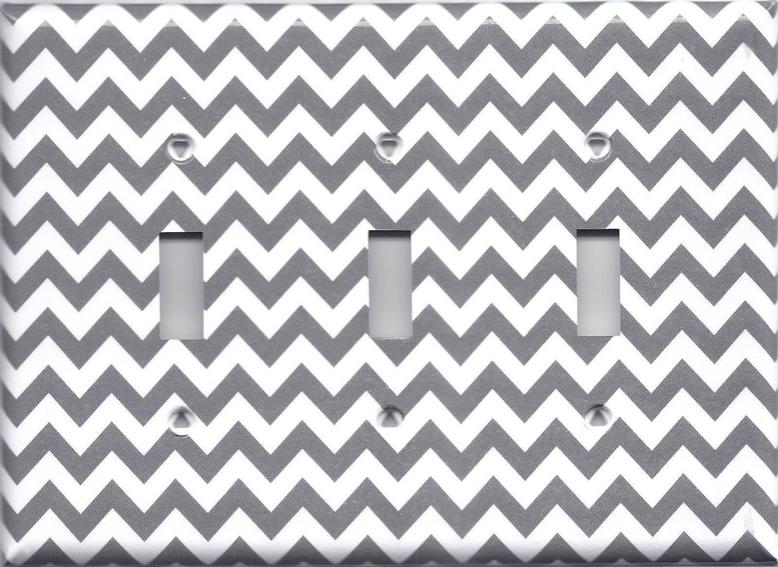 Silver/Grey/Gray/Charcoal Chevron Zig Zag Print Switch Plates & Outlet Covers