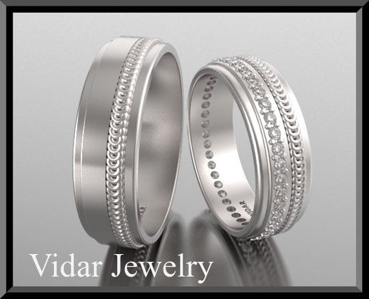 His and Hers 14K Matching Wedding Bands SetUnique Matching