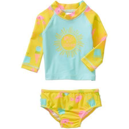 04b68688bb979 Child of Mine by Carter's Newborn Baby Girl Rash Guard Swim 2-Piece Set -  Walmart.com