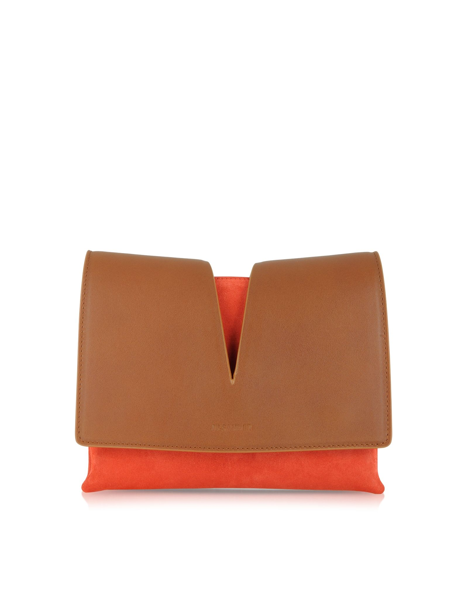 2fdcd4d704 Jil Sander View Small Brown Leather and Open Orange Suede Crossbody Bag at  FORZIERI