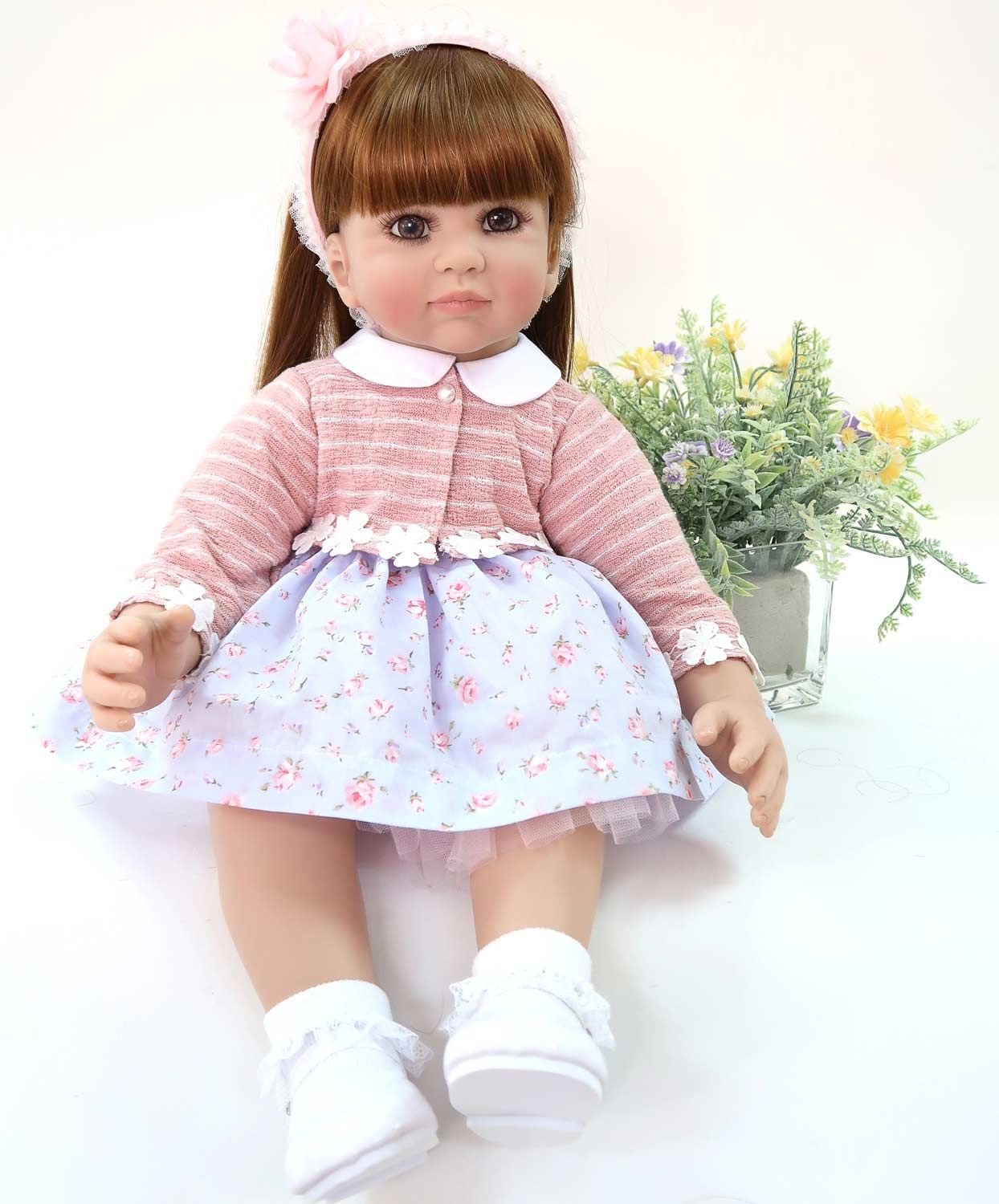 "Lifelike 24/"" Reborn Toddler Baby Princess Girl Vinyl Doll Toy Soft Fabric Body"