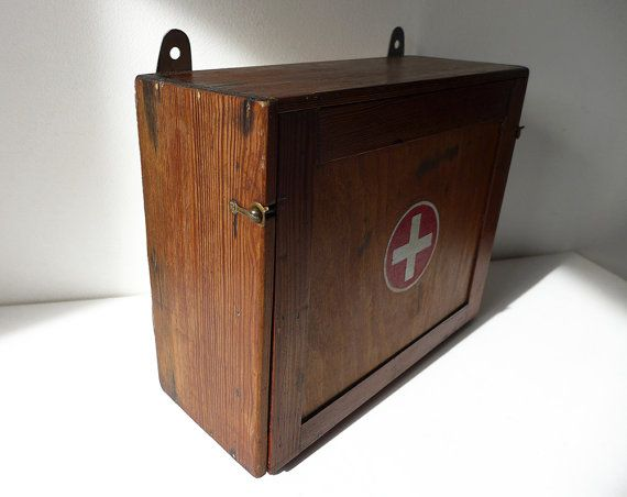 Vintage Wooden First Aid Box, Medicine Cabinet, wall