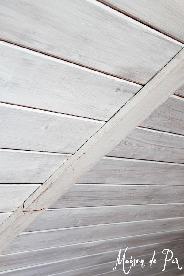 How To Whitewash Wood Wood Plank Ceiling Wood Ceilings
