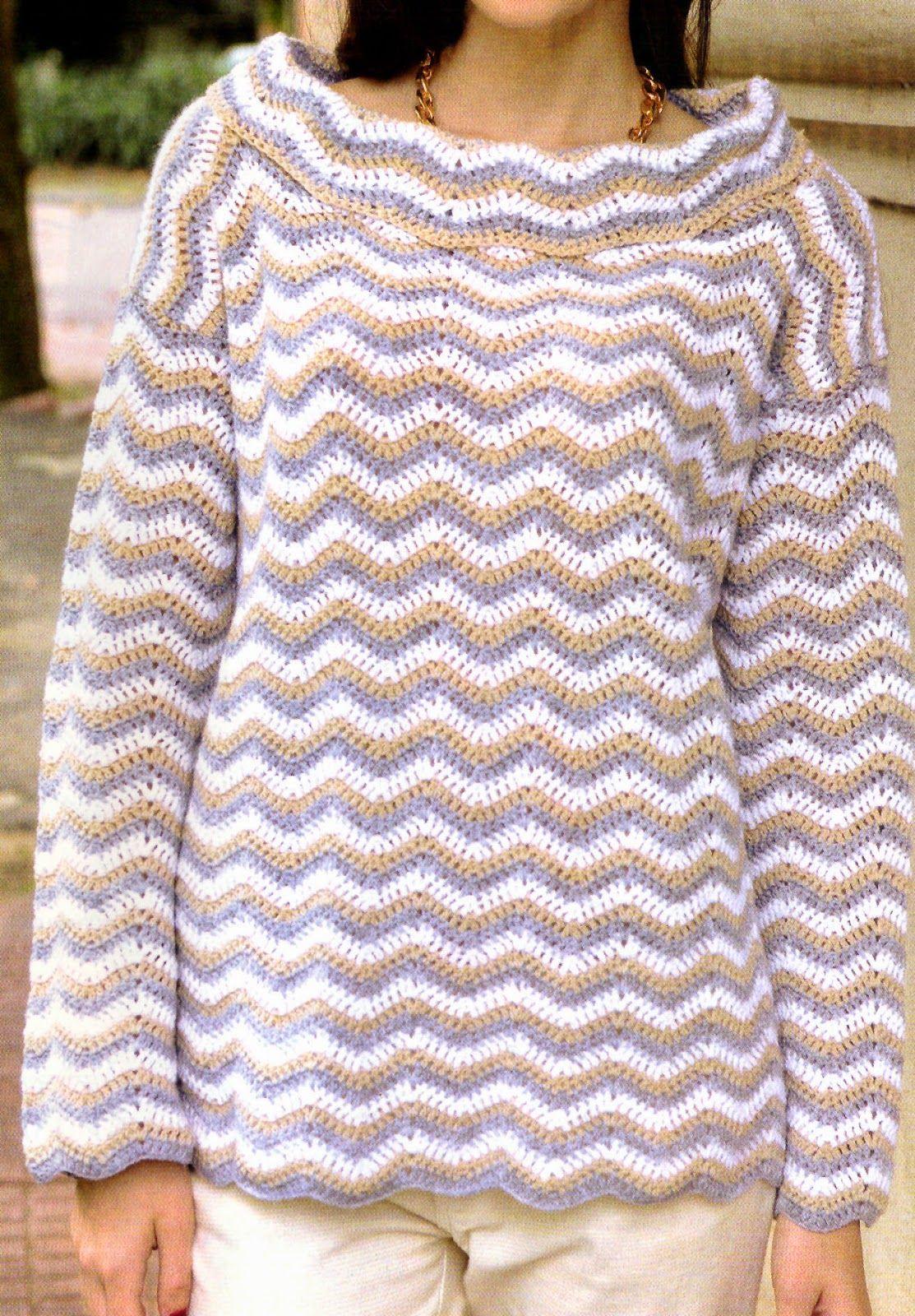tejidos al crochet paso a paso con diagramas  sueter tejido en crochet en  punto zig zag c471437344b3