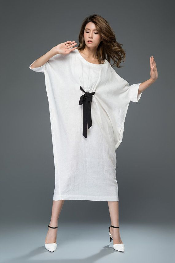 d9c0df8fa46 White Linen Dress Loose-Fitting Casual or Smart by YL1dress