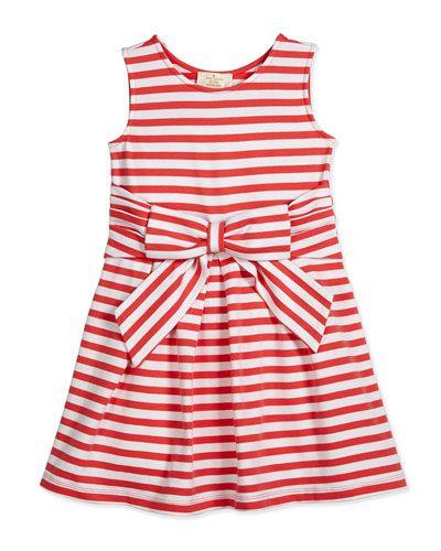 Z1N5Q kate spade new york jillian striped stretch-jersey dress, red/white, size 2-6