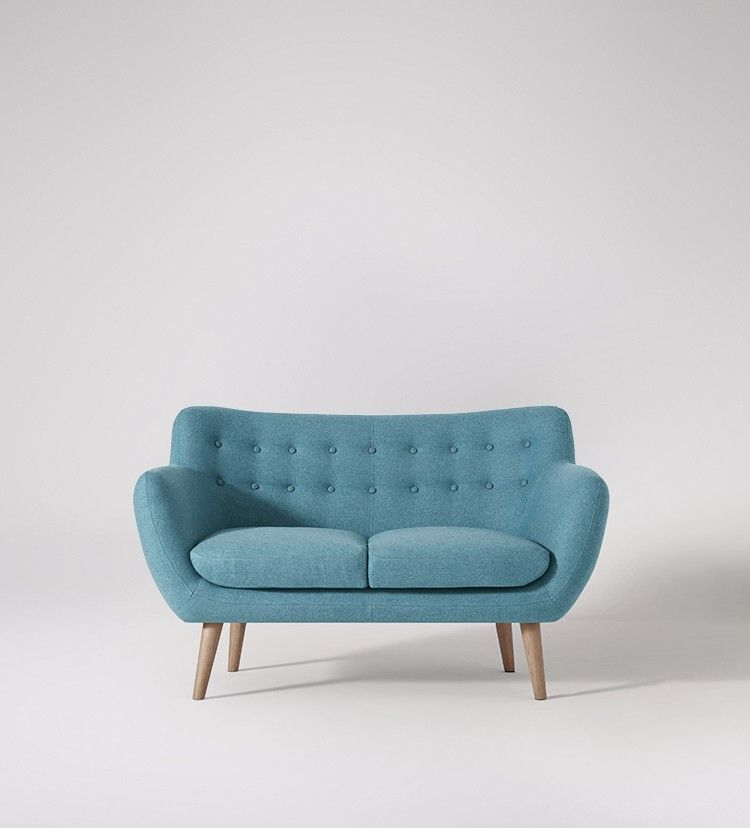 Swoon Editions Two Seater Sofa Mid Century Style In Granite