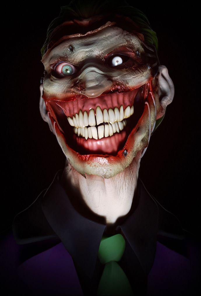 insanely terrifying portrait of the joker comics pinterest