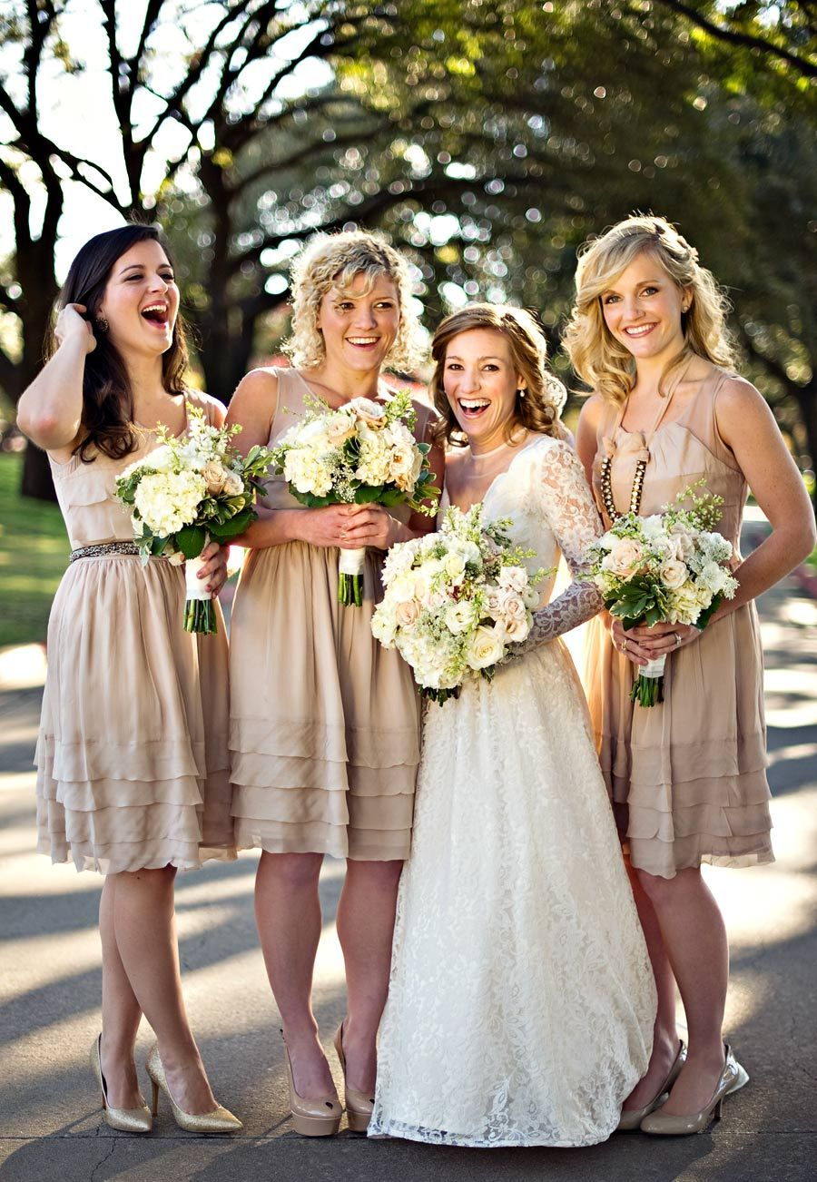 Love these bridesmaids dress colors the height difference in this rustic bridesmaid dresses really cute chiffon dress for the beige hue in the winter color theme for whoever wants to wear this color ombrellifo Choice Image