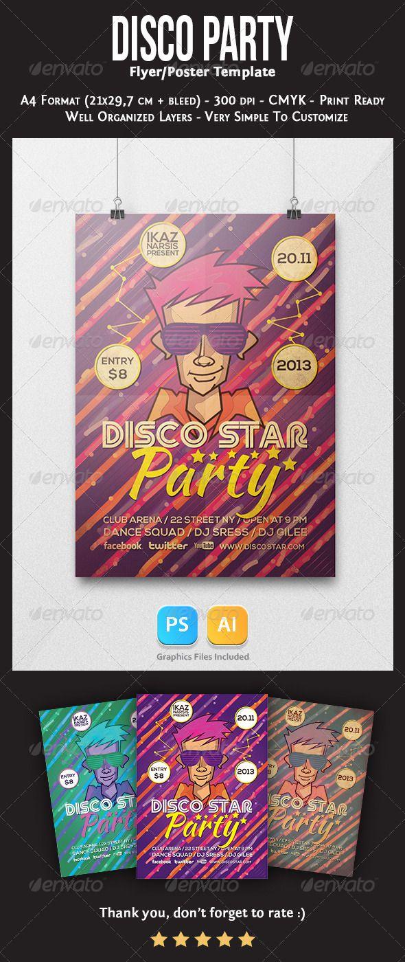 disco star flyer template graphicriver disco star flyer template