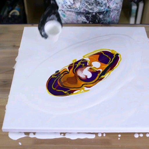 Photo of Big acrylic pour with orange! Full tutorial in link! – fluid painting