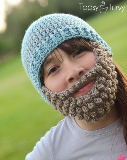 Bobble Bearded Beanie Pattern Extra Small Medium Large Free By