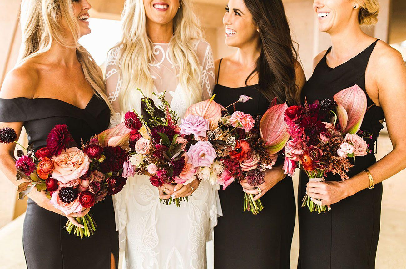 It Was A Black Tie Affair At This Moody Modern Malibu Wedding With Boho Twists Green Wedding Shoes Bridesmaid Dress Color Schemes Bridesmaid Black Bridesmaid Dresses [ 860 x 1300 Pixel ]