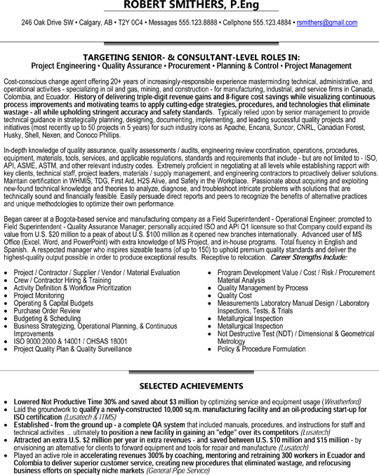 Project Engineer Resume Senior Project Engineer  Consultant  Quality Assurance
