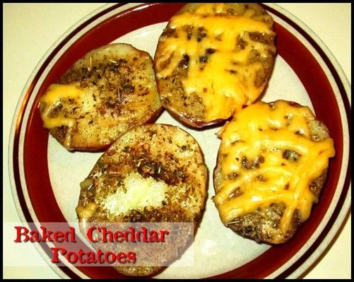 Baked Cheddar Potatoes http://www.momspantrykitchen.com/baked-cheddar-potatoes.html