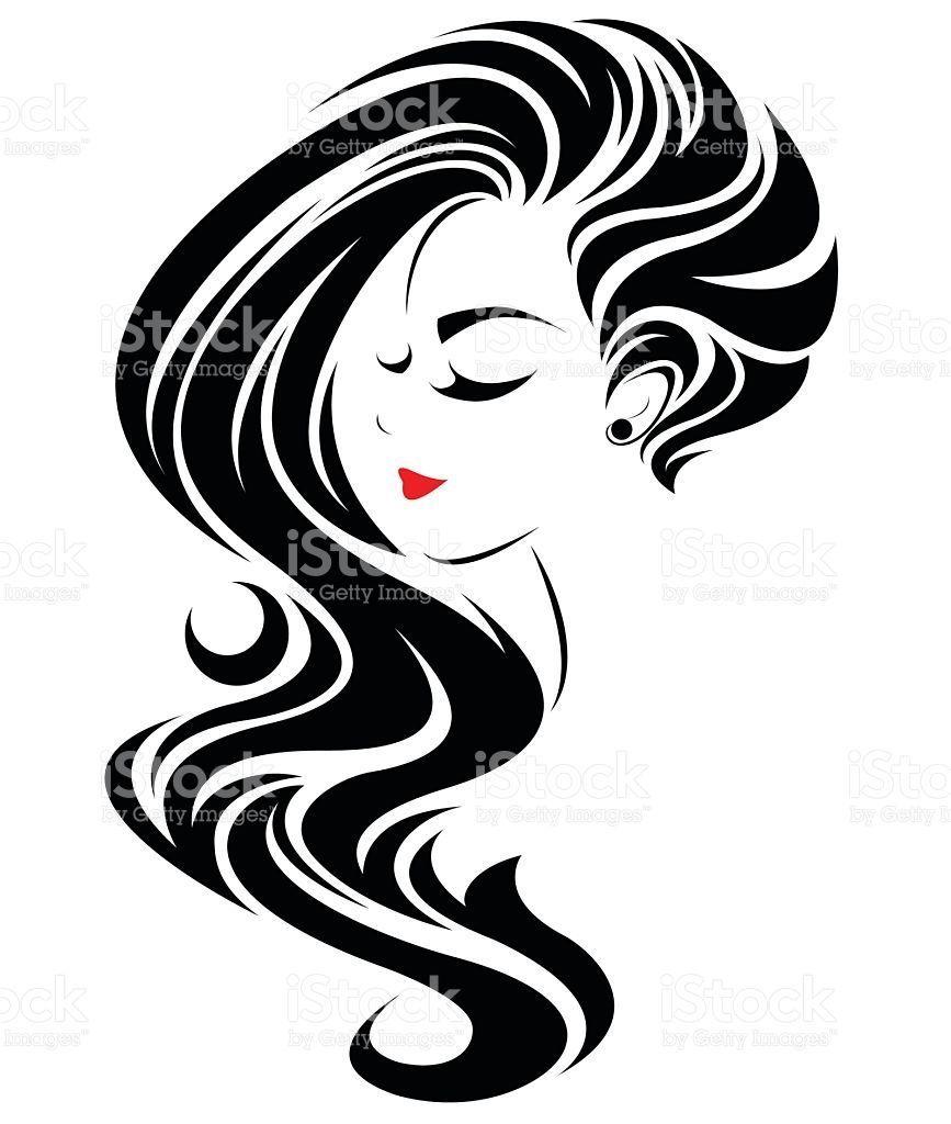 Women Long Hair Style Icon Logo Women Face Vector Id636122034 867 1024 Female Face Drawing Hair Logo Hair Salon Art