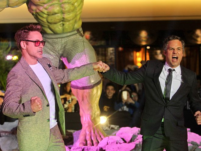 Star Tracks: Monday, April 20, 2015   AVENGER ANTICS   Robert Downey Jr. and costar Mark Ruffalo join forces at the Avengers: Age of Ultron premiere at a mall in Beijing, China, on Sunday.