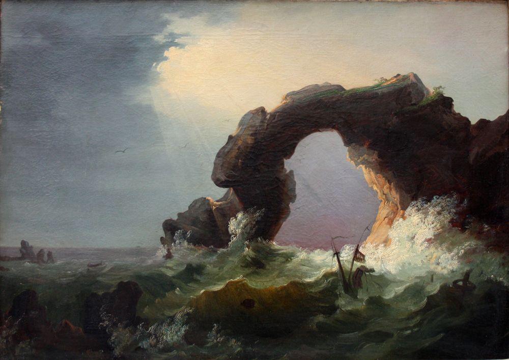 Remigius van Haanen (1812-1894), Storm on the Coast near Naples Fusaro.