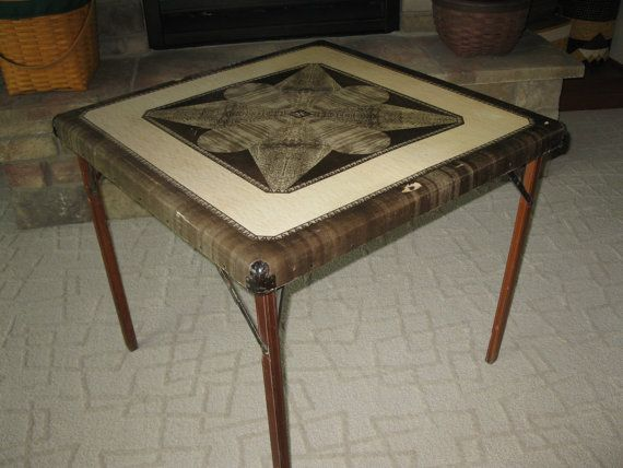 Reserved For Janevintage Samson Card Table Shwayder Etsy Wood Legs Table Parquet Design
