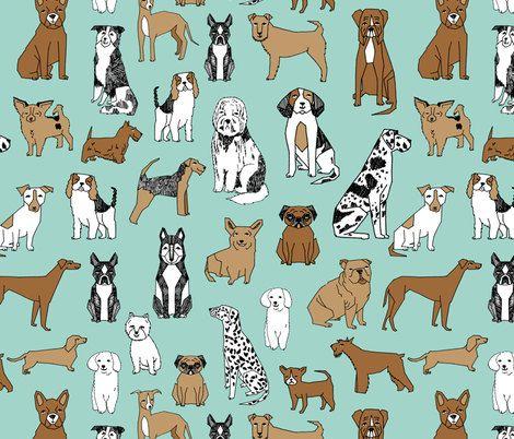 New to HudsonBabyCompany on Etsy: Changing pad cover crib skirt or crib sheet - ready to ship - mint green dog eat dog fabric - brown and black white dog retro modern print (30.00 USD)