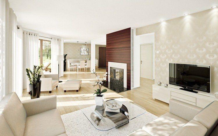 meubles-salon-blanc-cassé-idées-intérieur-chic-art-déco | Salon ...
