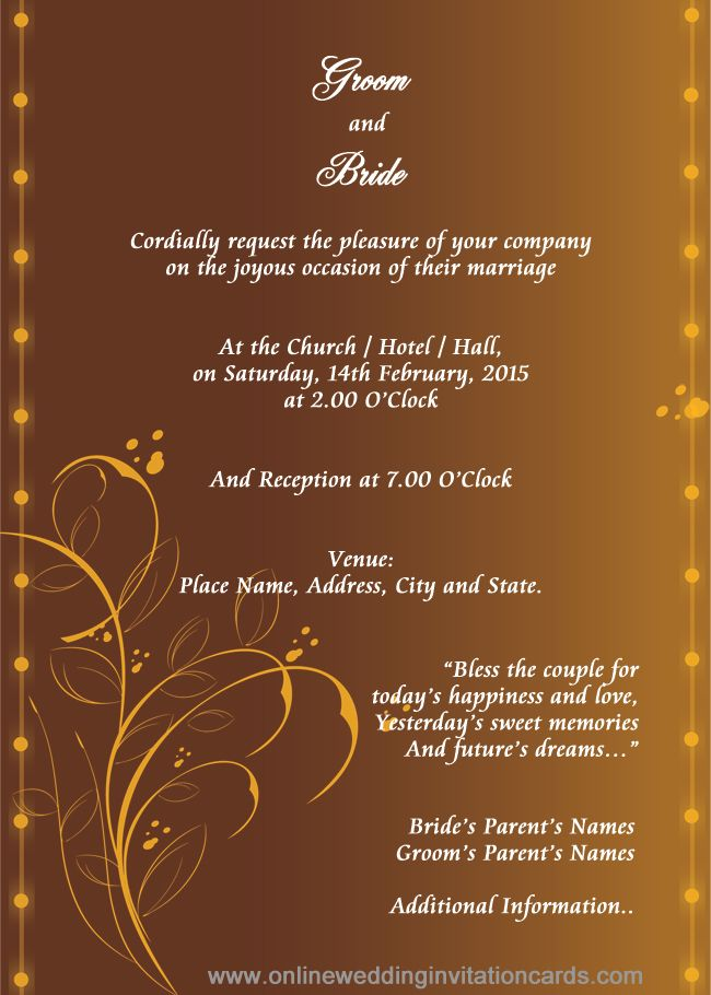 Marriage Invitation Card Template With Images Marriage