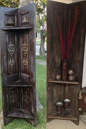 #corner #Doors #doorscorner #shelves #Solid #Woo #wood Corner shelves made from old solid wood doors#corner #doors #shelves #solid #woo...  Corner shelves made from old solid wood doors#corner #doors
