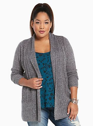 Marled Cable Knit Open Cardigan, CHARCOAL HEATHER...Torrid.com ...
