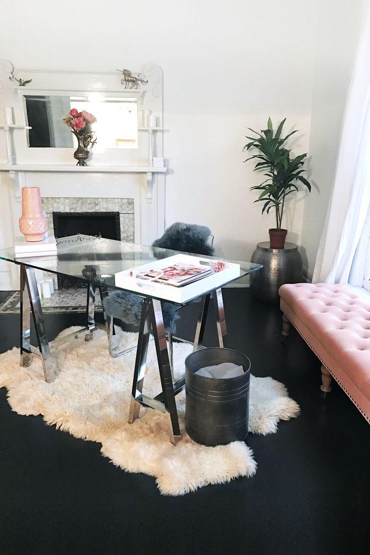 Feminine Minimalist Office Decor | Chic West Elm Glass Desk On A White Fur  Rug,