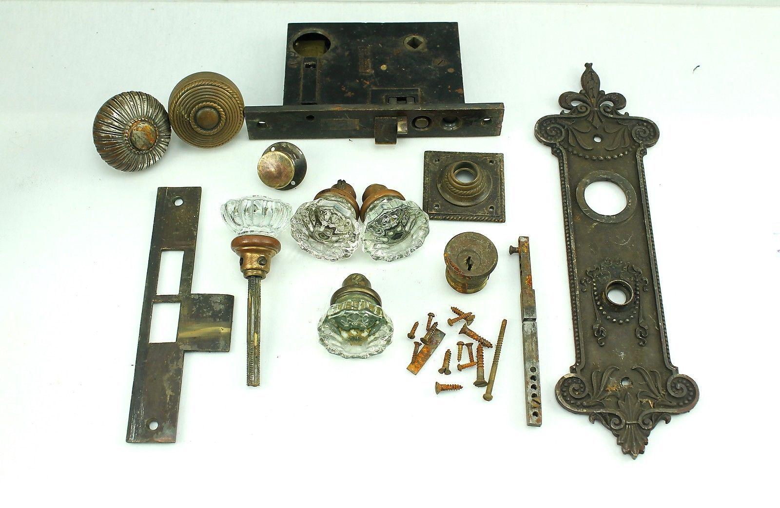 Antique or Vintage Backplate Brass Glass Door Knob Lock Lot | eBay ...