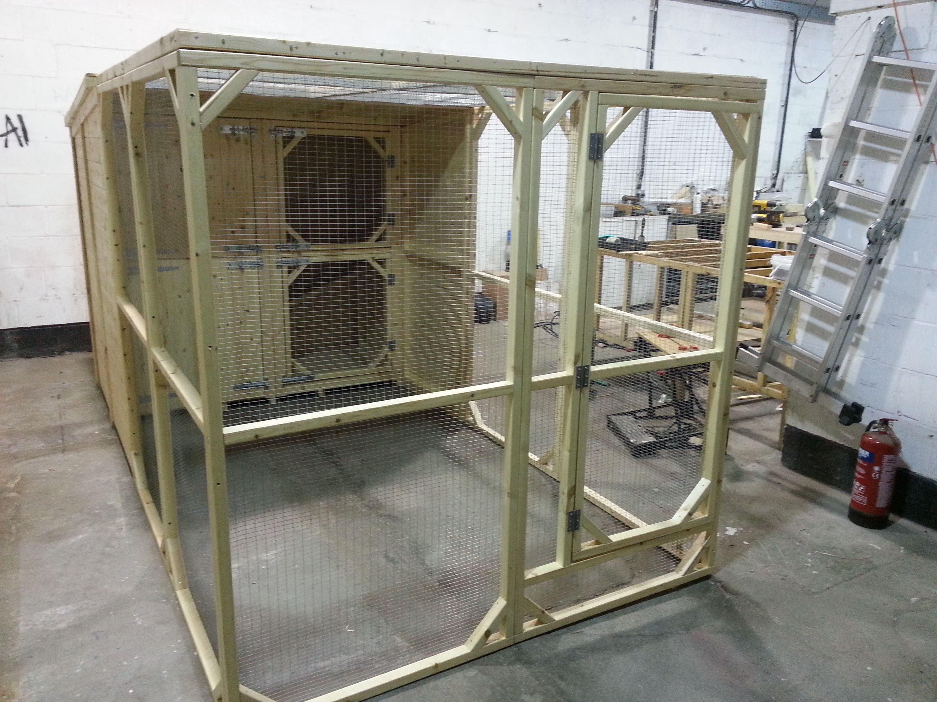 Large 12x6x6ft Walk In Rabbit Run with integrated Double Hutch at back. Hutch is 6x3x3ft per level.