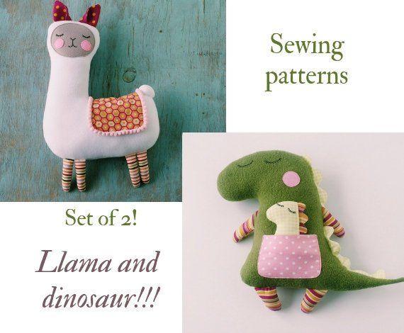 Stuffed animal patterns Llama plush toys sewing pattern PDF Dinosaur