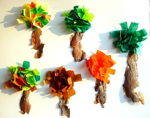 Herbstdeko basteln aus papier  Bastelideen/basteln-Papier-Herbst-Baum-Rinde-Wind ...