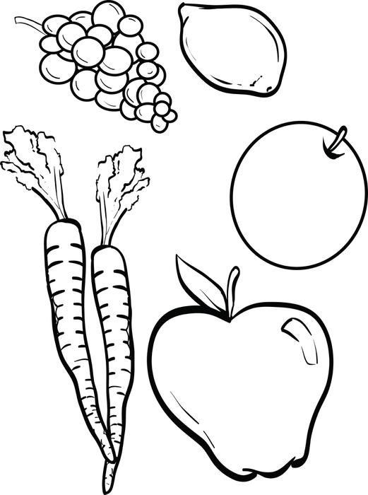 Fruits and vegetables coloring page sunday school clip for Coloring pages fruits and vegetables