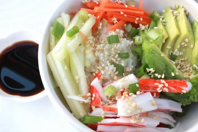 California Roll In A Bowl - you could replace the crab with marinated tofu to make it #vegetarian #vegan
