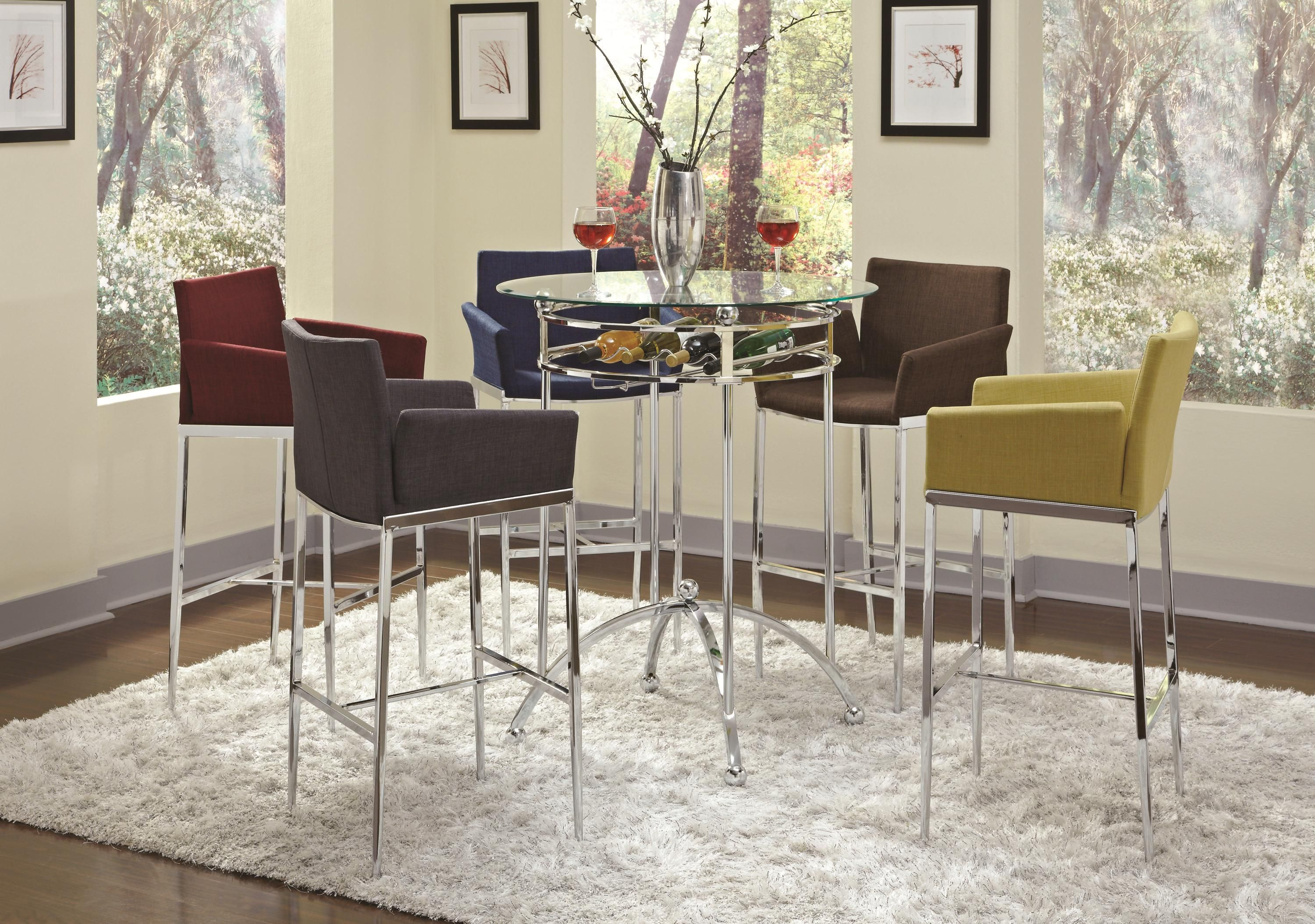 Chrome And Glass Pub Table By Coaster $260. Chrome And Cranberry Barstool  $180 3 Piece Set $620 On Sale Now For $539 Barstools Available In Other  Colors!