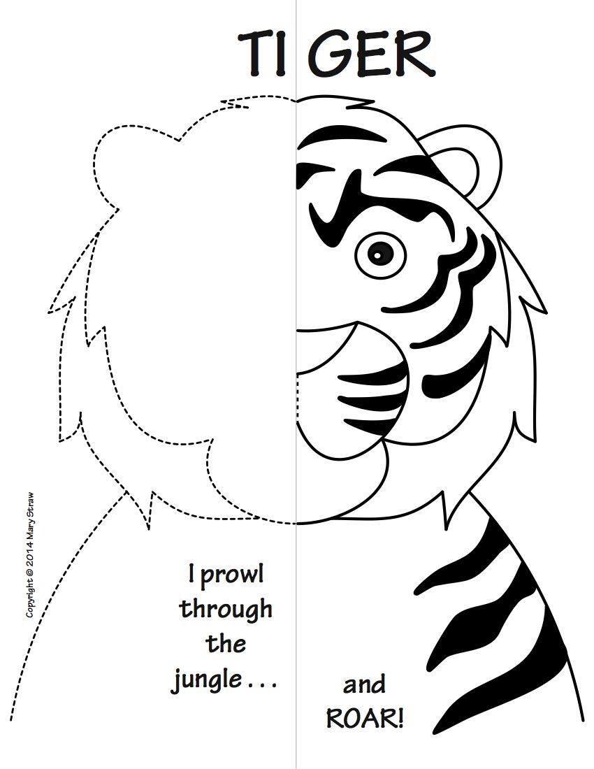 Zoo Animals Symmetry Activity Coloring Pages | Language arts, Maths ...