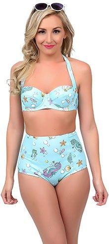 Hell Bunny 1950s Style Aqua Bubble & Sweet Halter Swim Top