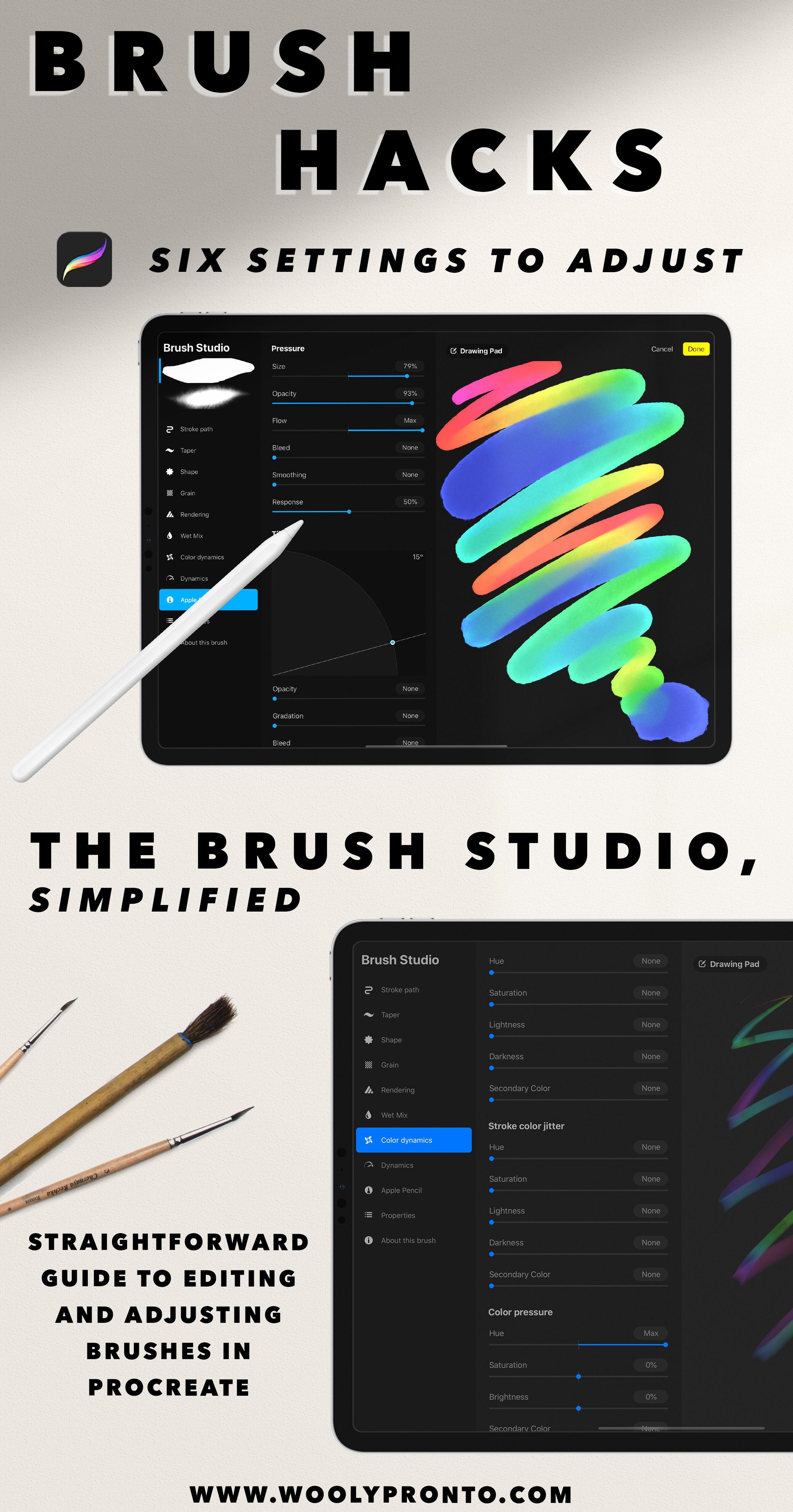 Procreate 5 Brush Studio Explained Six Brush Settings Hacks And Adjustments To Make 2 Procreate Ipad Art Procreate Ipad Tutorials Ipad Lettering Procreate