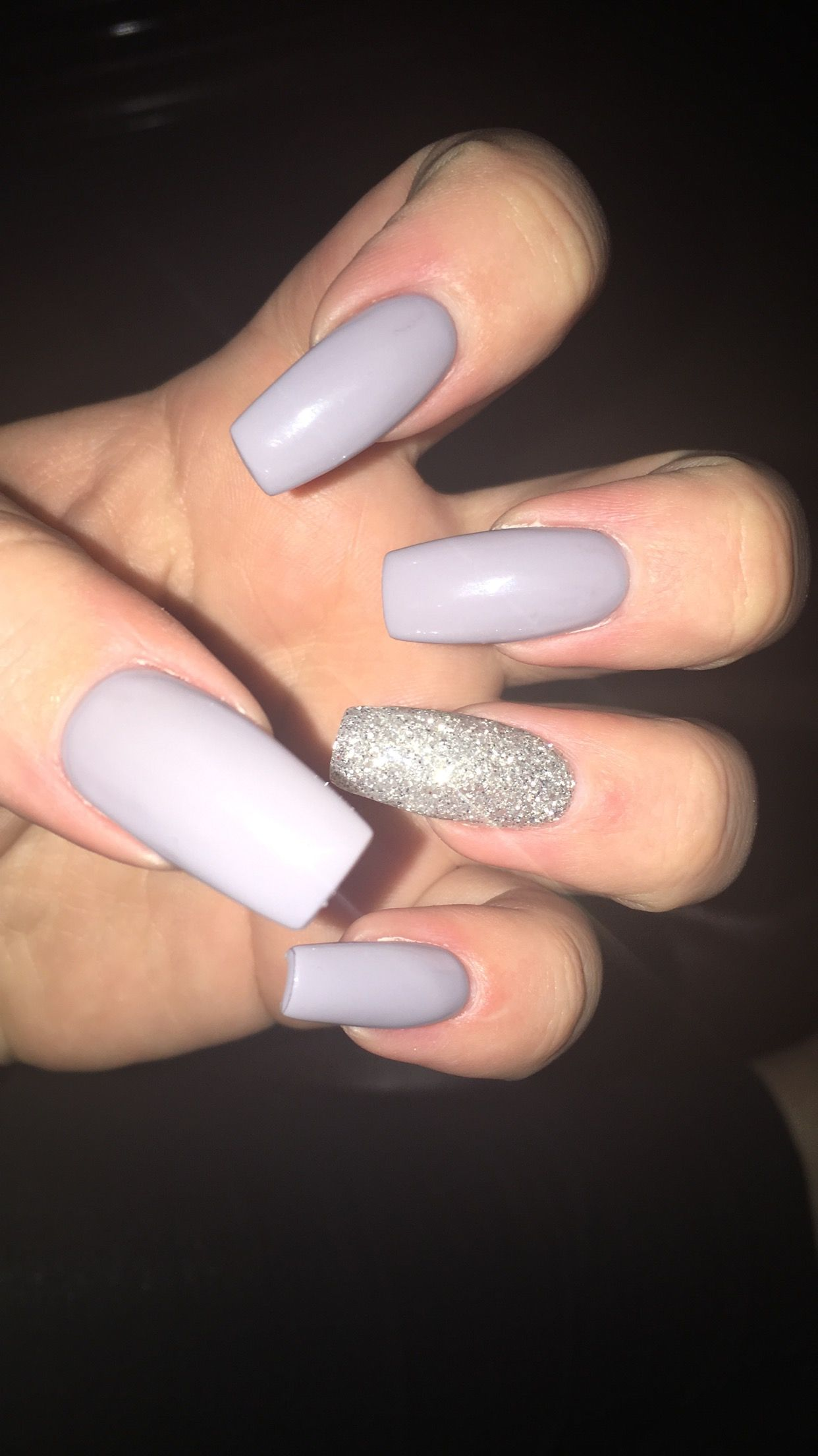 Coffin Nails Light Grey With Sliver Glitter Willistonnd