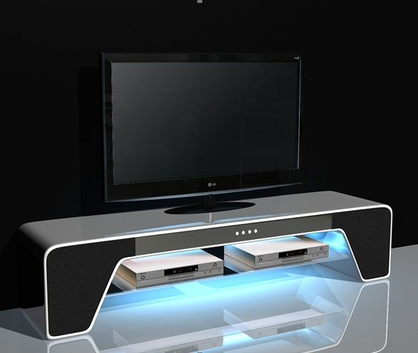 Buffulo Tv Stand High Gloss White With Speakers And Usb