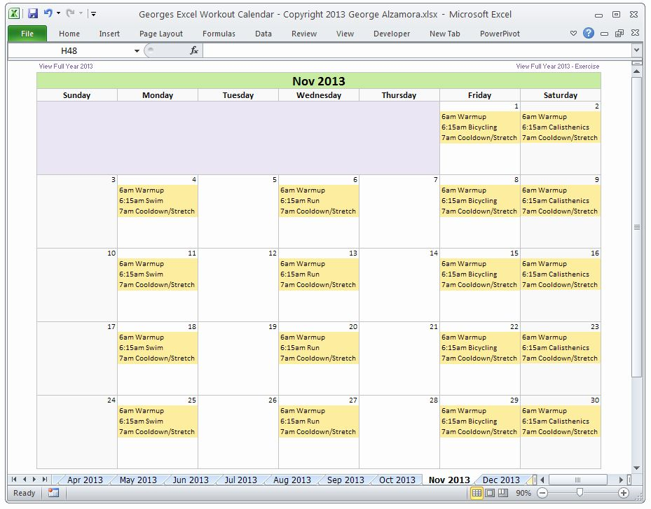 Beautiful Monthly Schedule Template Excel in 2020
