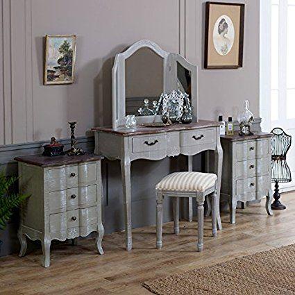 Schminktisch Grau möbel bundle schminktisch hocker dreifach spiegel und 2