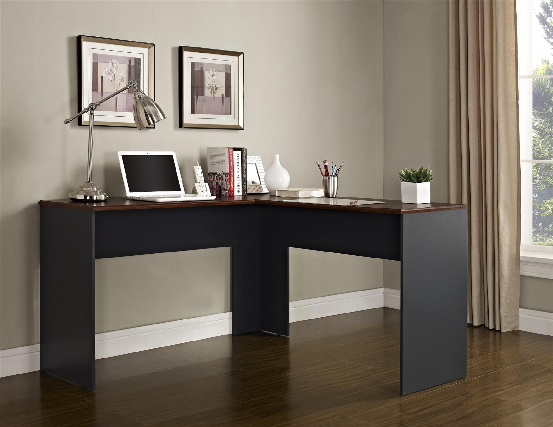 Dorel home furnishings the works cherry and slate gray l shaped desk brown