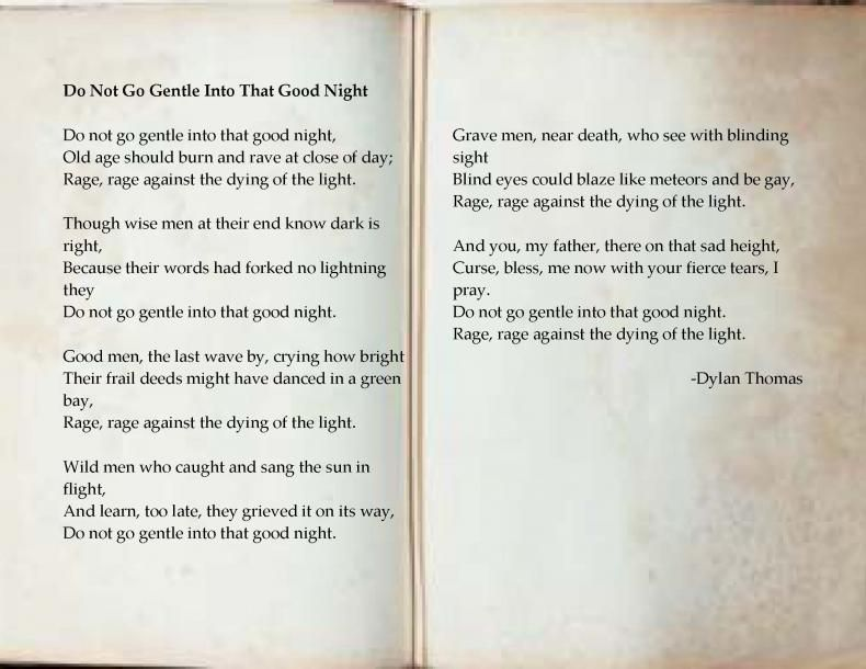 Do not go gentle into that good night by Dylan Thomas - this poem ...