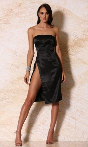 Satin Seduction Strapless Side Slit Midi Dress 2 Colors Available