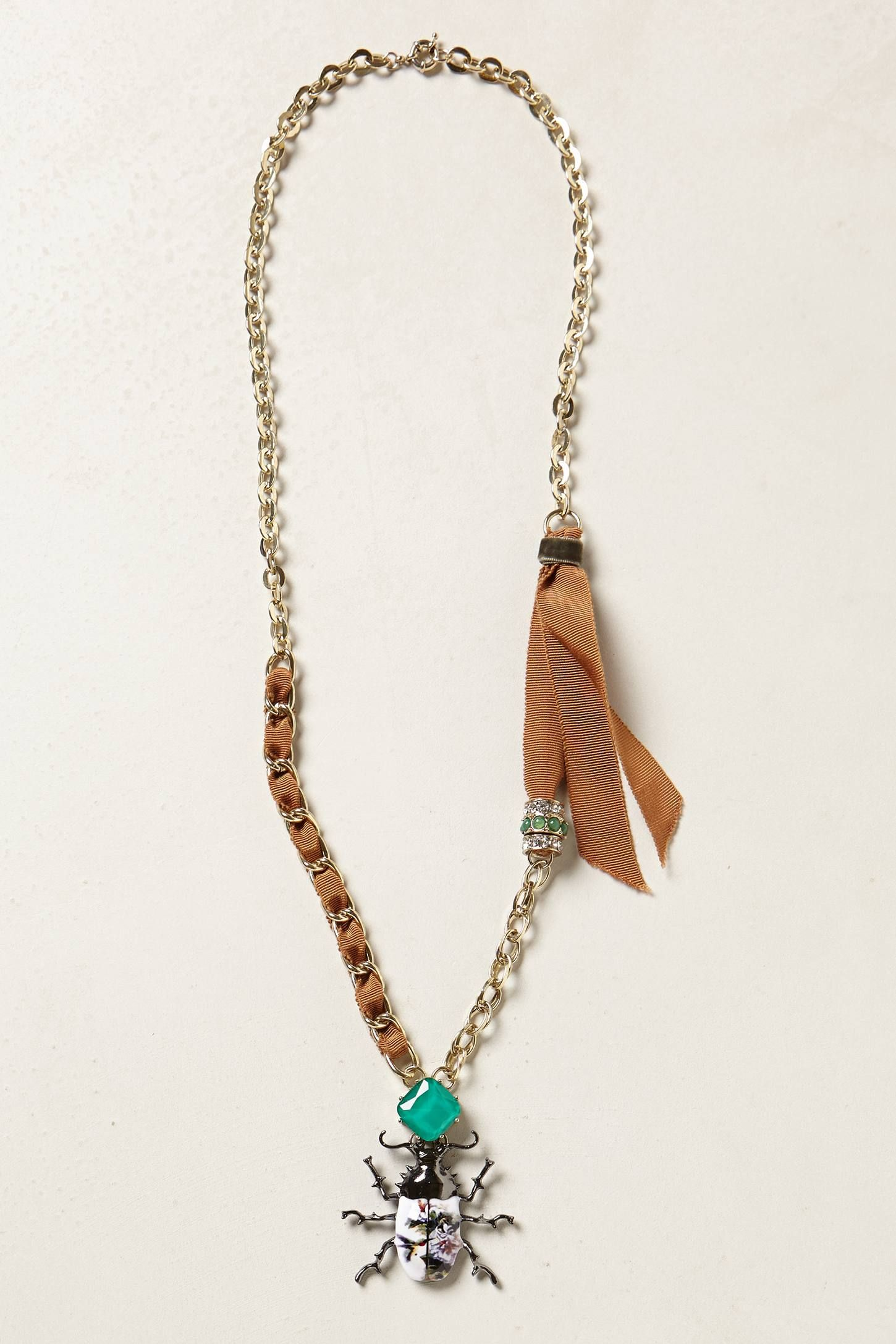 Painted Scarab Pendant Necklace - anthropologie.eu