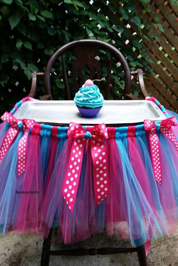 High Chair Tutu Skirt  Cake Smash Tutu  by MonkeyPantsPartyHats