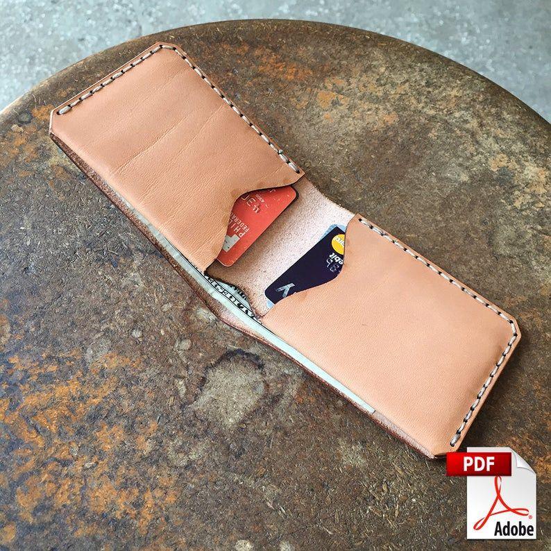 Fold Over Leather Bi Fold Wallet Digital Pdf Design Leathercraft Pattern 8 5 X 11 In 2020 Minimalist Leather Wallet Leather Wallet Pattern Leather
